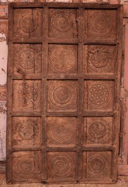 antique tribal doors with chakra motifs, Baster, South India
